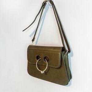 Handbags - Olive Green Gold Detail Adjustable Crossbody Bag